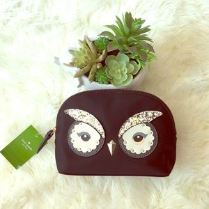 Kate Spade Glitter owl pouch cosmetic bag black